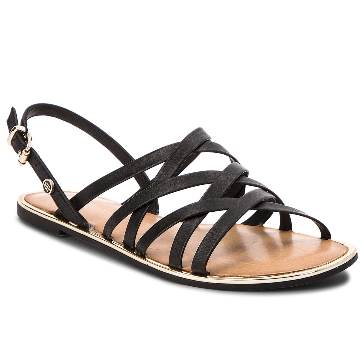 Sandále TOMMY HILFIGER - Leather Strappy Flat Sandal FW0FW02228 Black 990