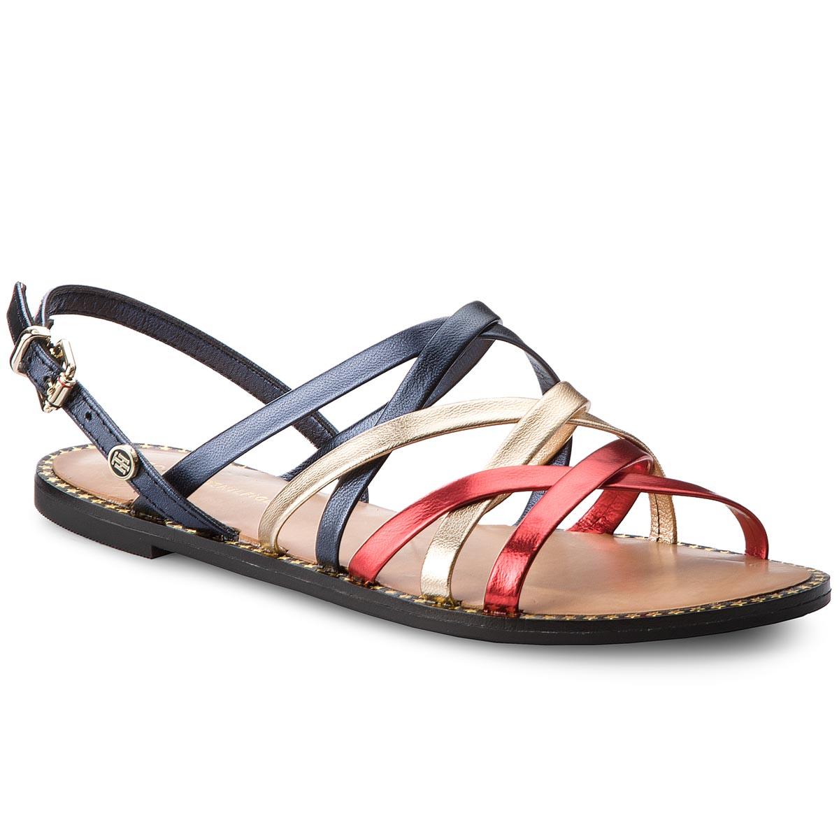 Sandále TOMMY HILFIGER - Metallic Strappy Flat Sandal FW0FW02776 Rwb 020