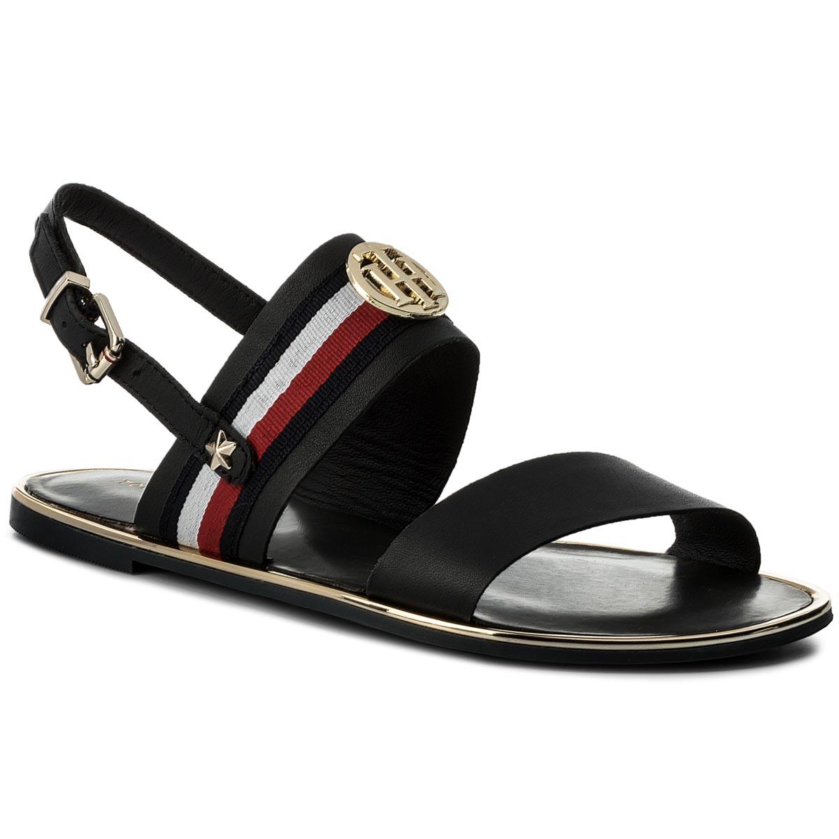 Sandále TOMMY HILFIGER - Corporate Ribbon Flat Sandal FW0FW02811 Midnight 403