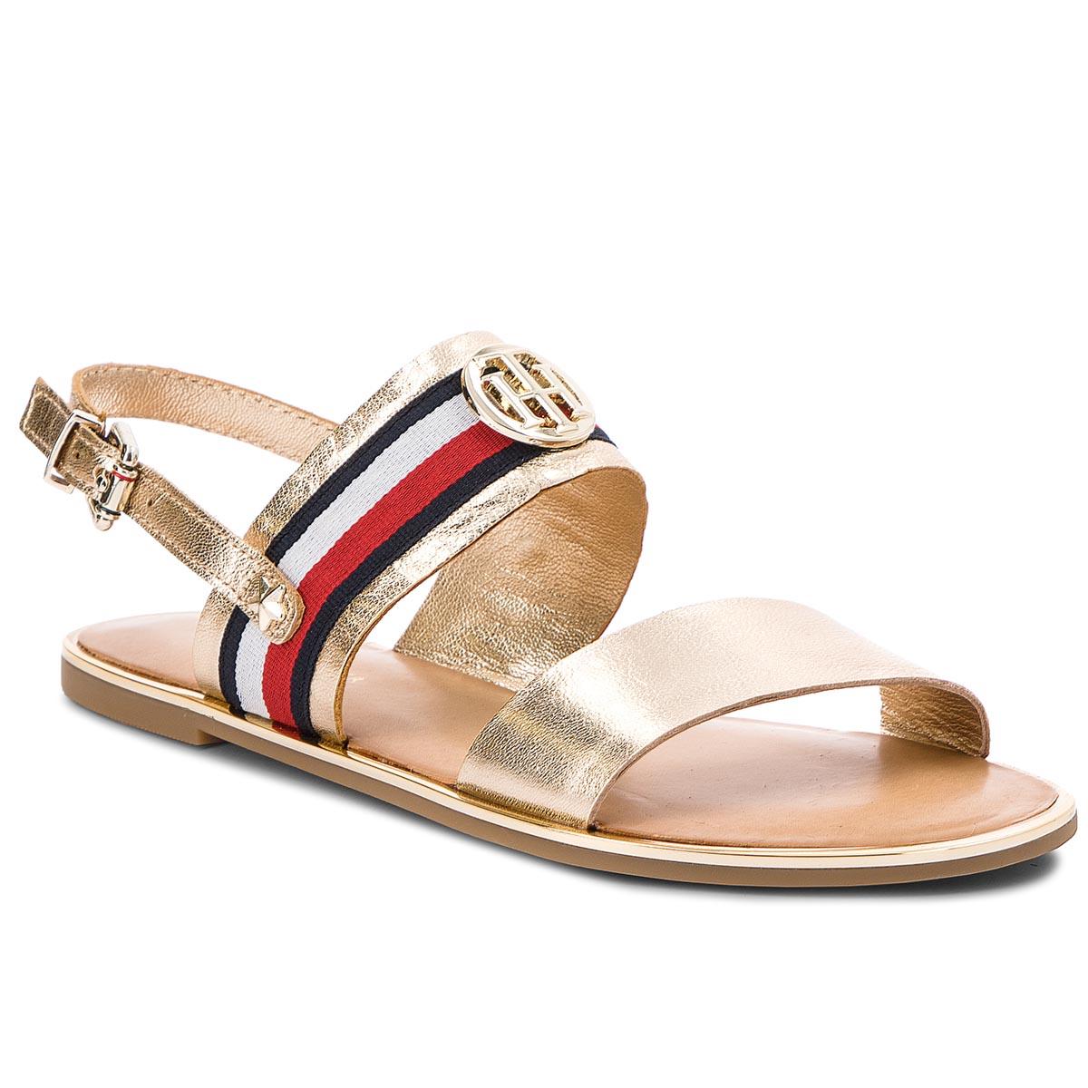 Sandále TOMMY HILFIGER - Corporate Ribbon Flat Sandal Met FW0FW02837 Mekong 709