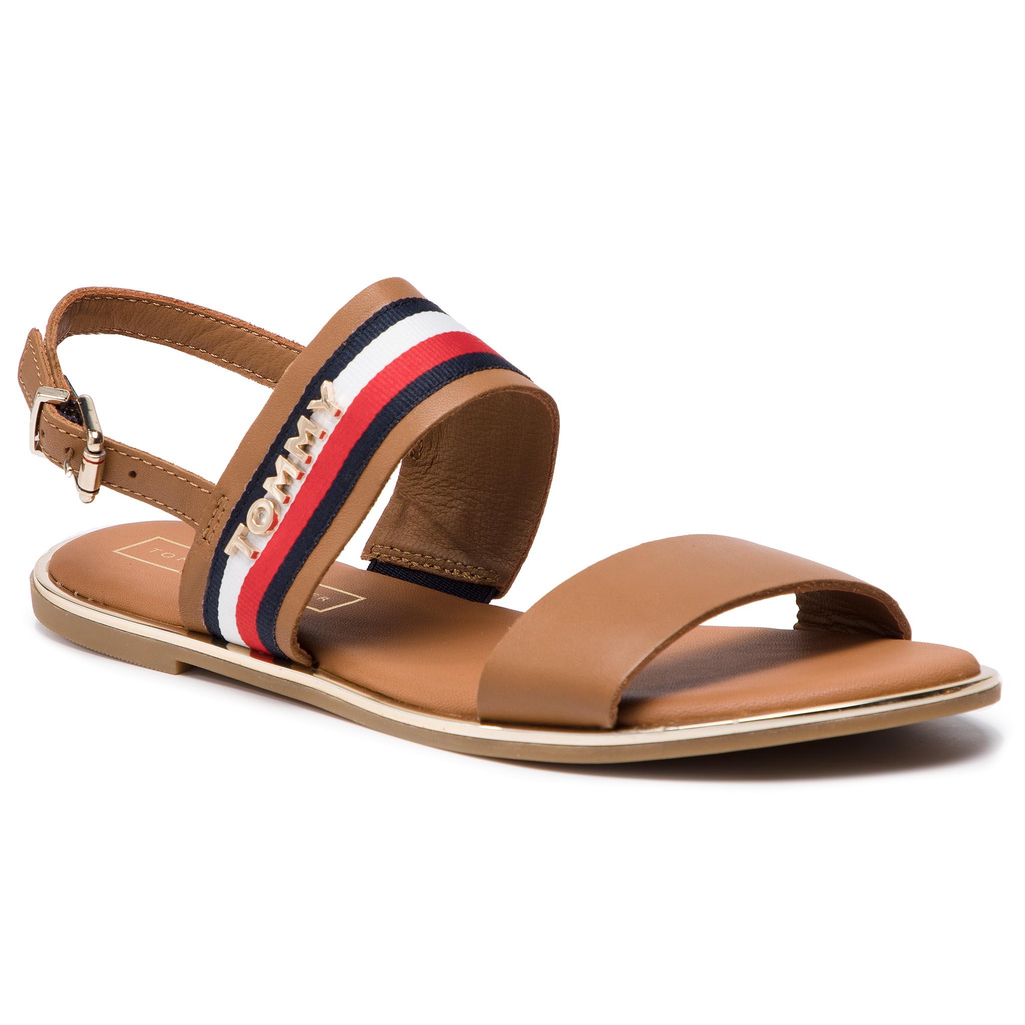 Sandále TOMMY HILFIGER - Flat Sandal Corporate Ribbon FW0FW04049 Summer Cognac 929