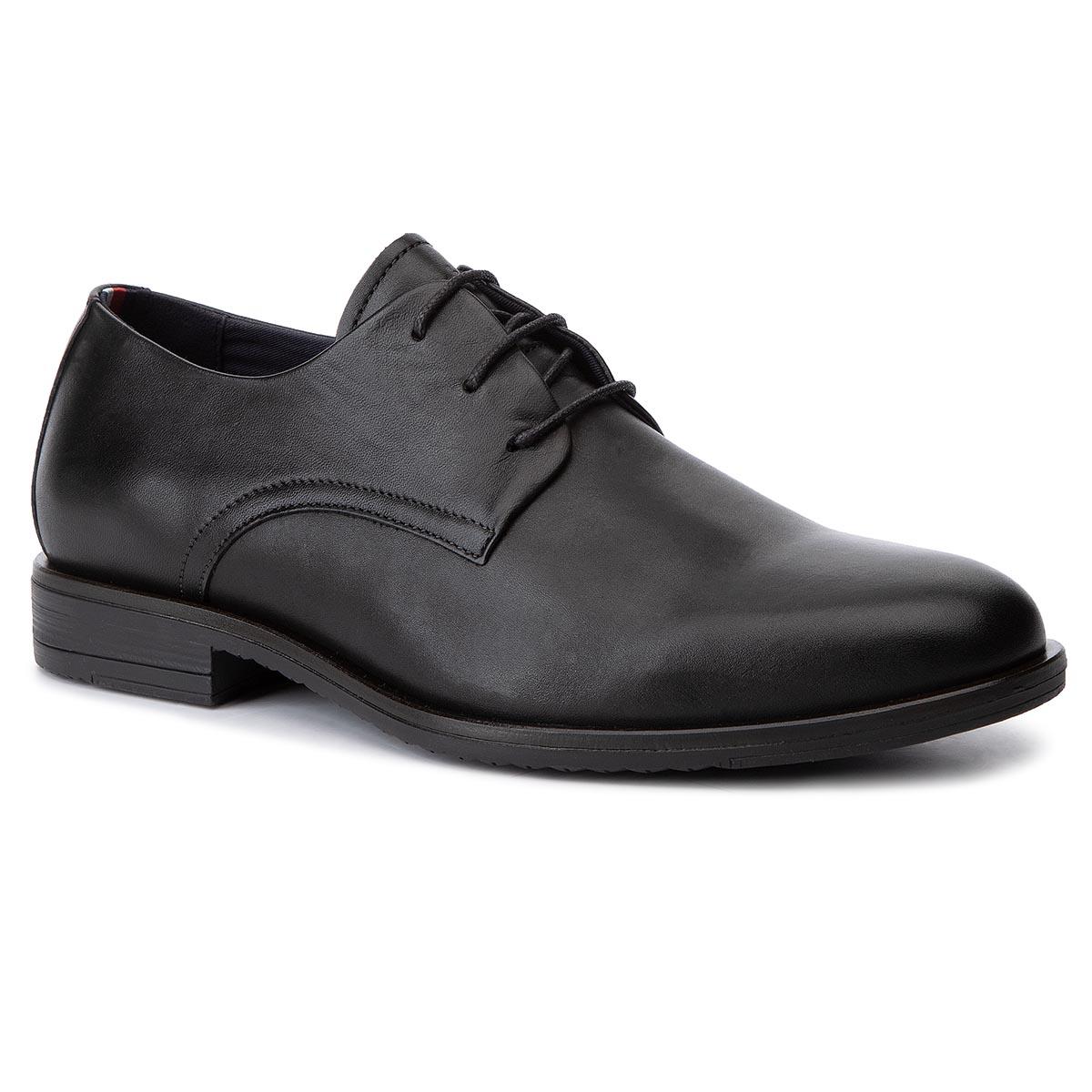 Poltopánky TOMMY HILFIGER - Core Leather Lace Up Shoe FM0FM02547 Black BDS