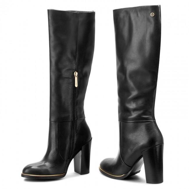 Čižmy TOMMY HILFIGER - High Leather Boot Hg 3A FW56821612 Black 990 ... 1cc1fc3e8e6