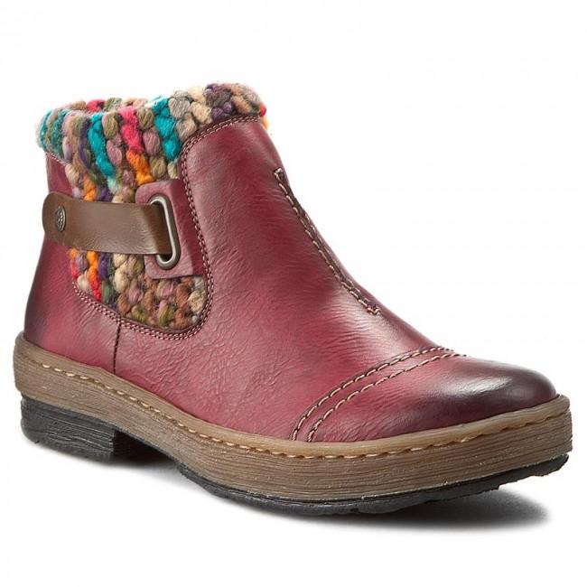 Členková obuv RIEKER - Z6784-35 Red Combination - Kotníková obuv ... 8caa1b532b1
