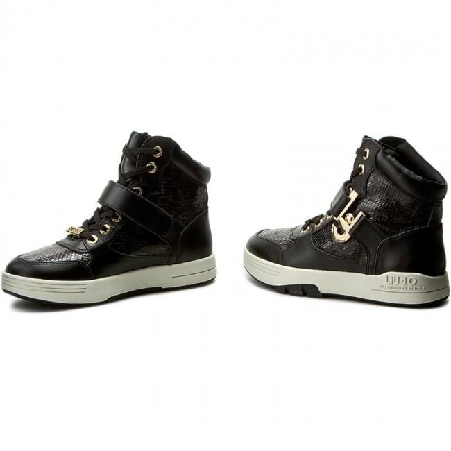 cbe1d0432b Sneakersy LIU JO - Sneaker Basket Glicine S66015 P0252 Pitone Nero 03V32