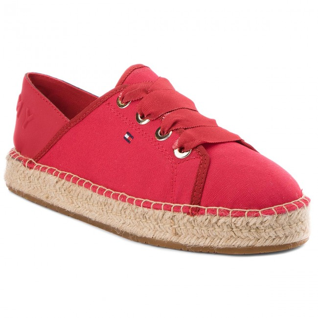 ce4ea696577 Espadrilky TOMMY HILFIGER - Th Metallic Lace Up Espadrille FW0FW02218 Tango  Red 611
