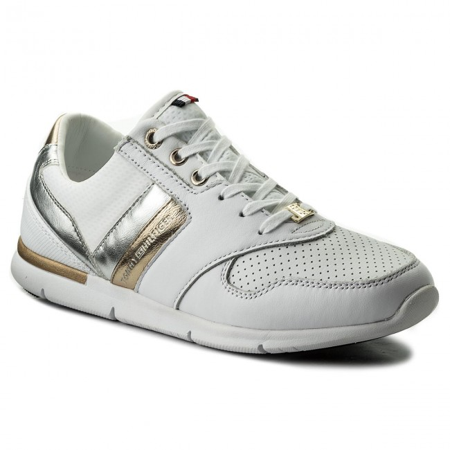 Sneakersy TOMMY HILFIGER - Light Weight Leather Sneaker FW0FW02805 White 100 c38f6945473