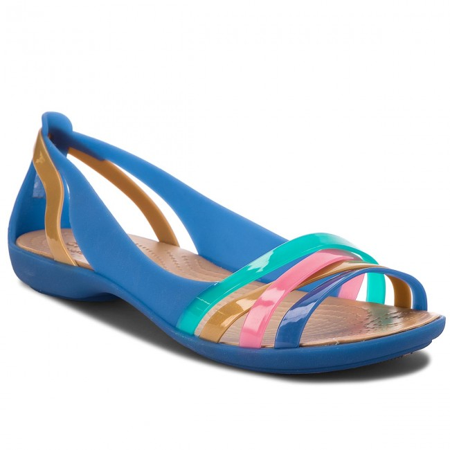 25823ae439a4f Sandále CROCS - Isabella Huarche 2 Flat W 204912 Blue Jean/Gold ...