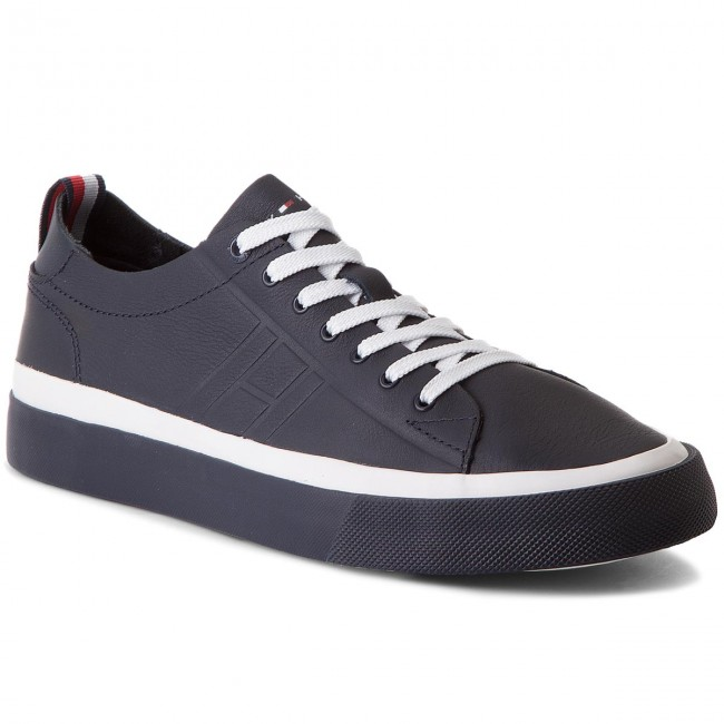cf59e9af8 Sneakersy TOMMY HILFIGER - Unlined Low Cut Leather Sneaker FM0FM01627 Midnight  403