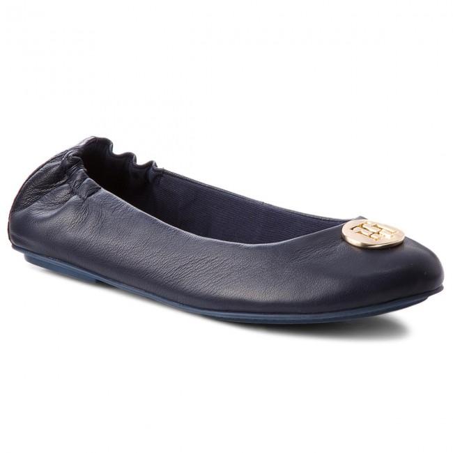 9e642d45823 Baleríny TOMMY HILFIGER - Flexible Ballerina Leather FW0FW03401 Tommy Navy  406