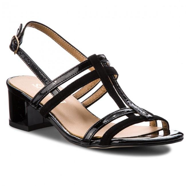 Sandále SAGAN - 2930 Czarny Lakier Czarny Welur - Sandále na ... 957e4cc8499