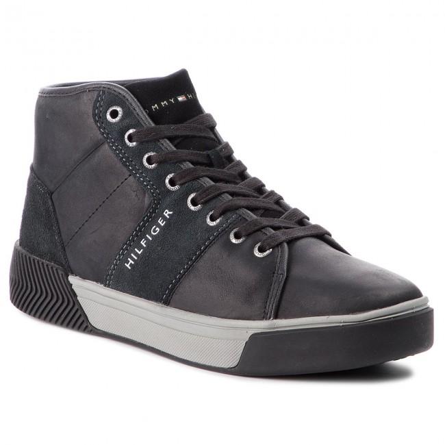 Sneakersy TOMMY HILFIGER - Leather Mix High Top Cupsole FM0FM01680 Black 990 6f43412f7b7