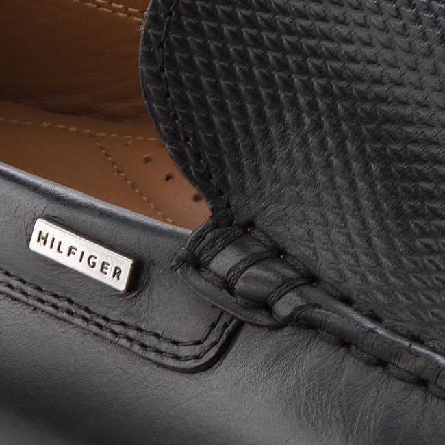 Mokasíny TOMMY HILFIGER - Embossed Leather Mix FM0FM01906 Black 990 ... 97fbe2cb39b