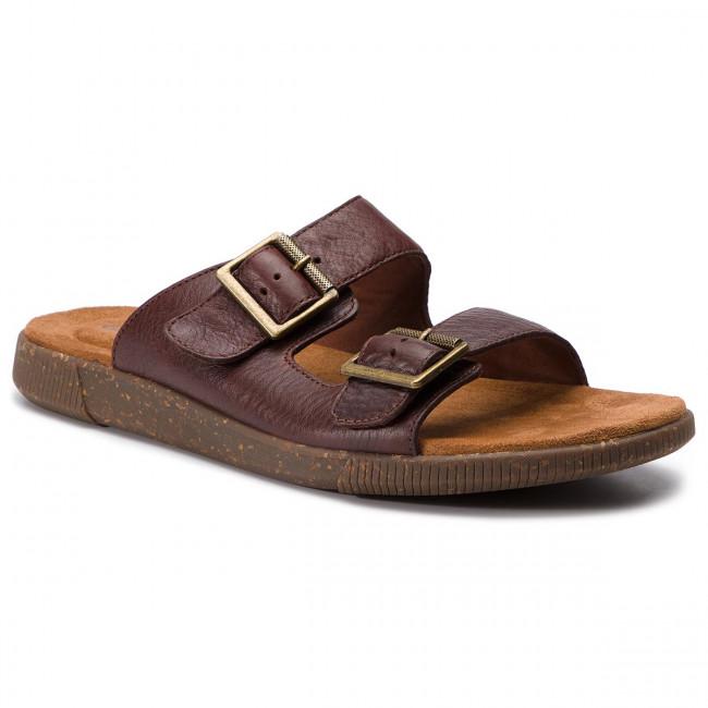 99142563caaac Šľapky CLARKS - Vine Cedar 261398047 Mahogany Leather - Šľapky ...