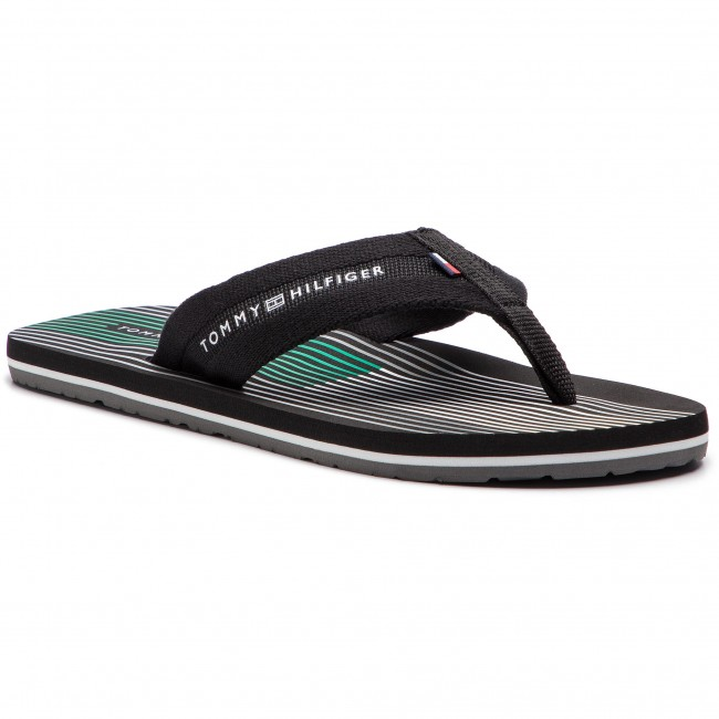 889994e0844 Žabky TOMMY HILFIGER - Striped Footbed Beach Sandal FM0FM01933 Black ...