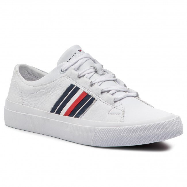 9ab971289f Sneakersy TOMMY HILFIGER - Corporate Leather Low Sneaker FM0FM01943 White  100