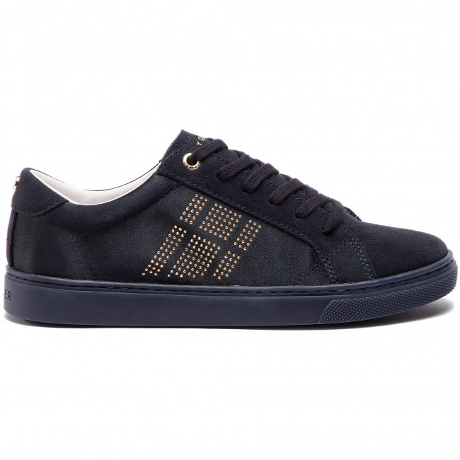 f2b8fe54090f8 Sneakersy TOMMY HILFIGER - Sparkle Satin Essential Sneaker FW0FW03694  Midnight 403