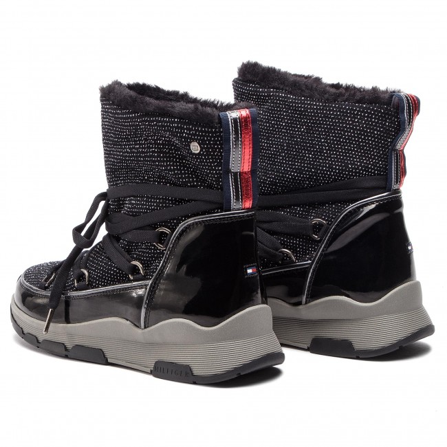 d0fb141d17 Členková obuv TOMMY HILFIGER - Cool Glitter Winter Boot FW0FW03696 Black 990