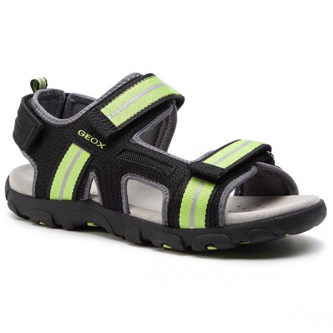 23b38df7855e Sandále GEOX - J S.Strada A J9224A 0CE14 C9B3S D Black Lime Green ...