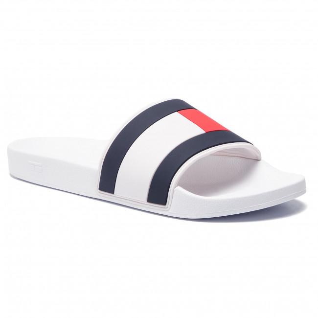 142eec7a08 Šľapky TOMMY HILFIGER - Essential Flag Pool Slide FM0FM02327 White ...