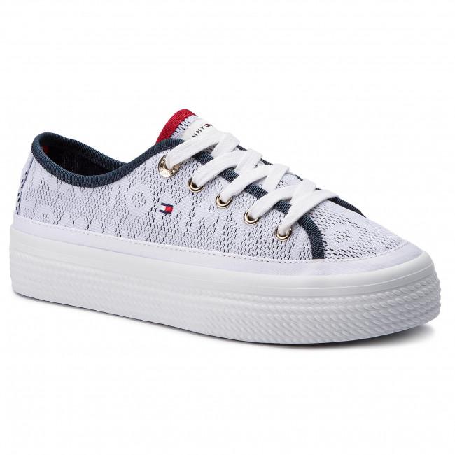 ee634ea14cc6 Tenisky TOMMY HILFIGER - Jacquard Flatform Sneaker FW0FW04071 White ...