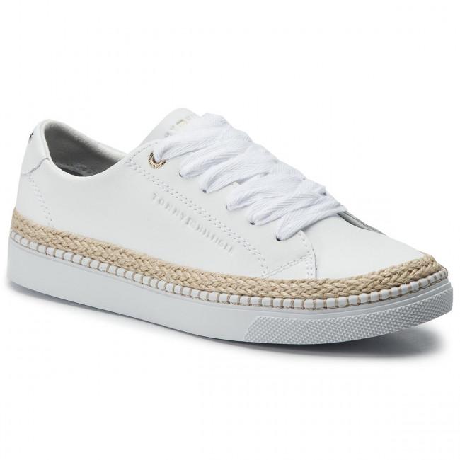 8594b3aaaca3b Espadrilky TOMMY HILFIGER - Jute City Sneaker FW0FW04145 White 100 ...
