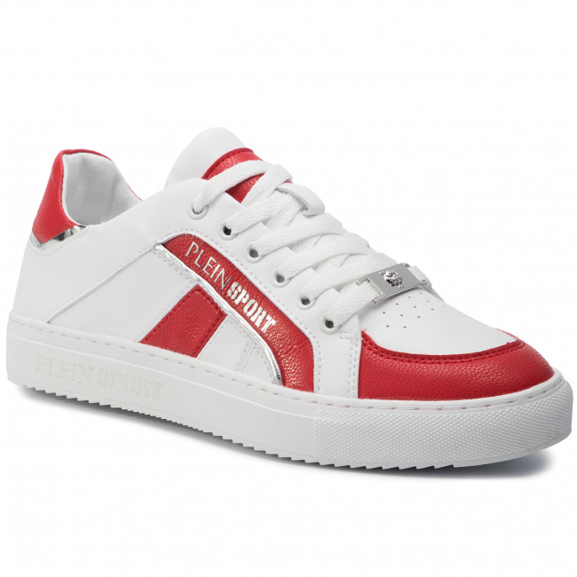 f5914eaa1b316 Sneakersy PLEIN SPORT - Lo Top Sneakers Cross F19S MSC2246 STE003N White/Red  0113