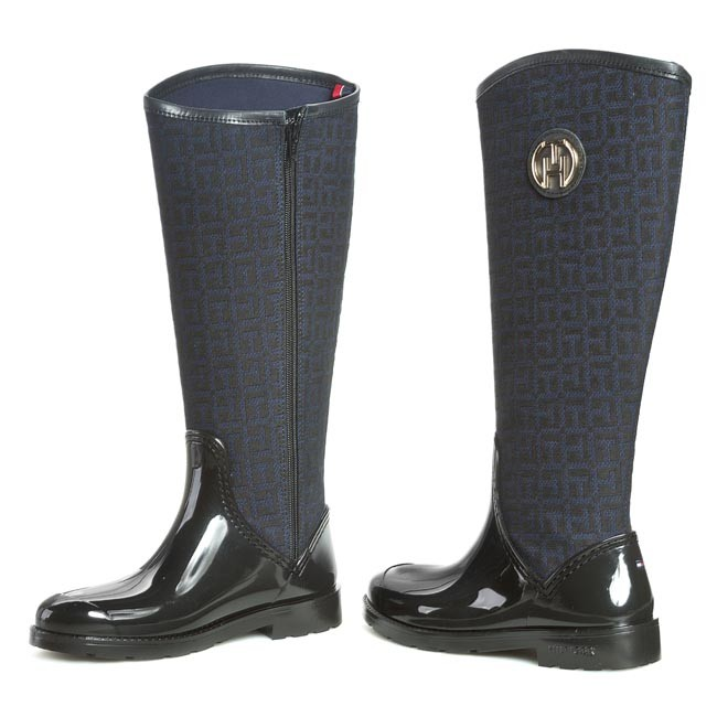Gumáky TOMMY HILFIGER - Oxford 17C FW56817662 Black 990 - Textil ... d8a8edc2546