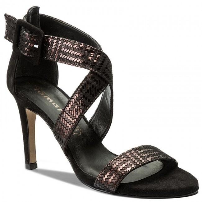 c2d6b52cf039 Sandále TAMARIS - 1-28360-28 Blk Mocca Met. 038 - Elegantné sandále ...