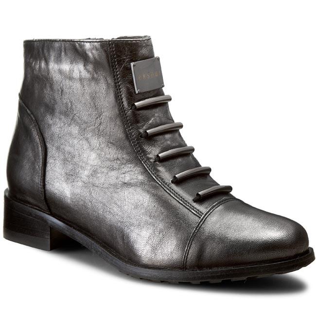 Členková obuv EKSBUT - 66-4088-E04-1G Czarny/Srebrny