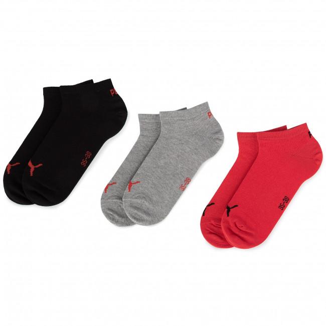 Súprava 3 párov kotníkových ponožiek unisex PUMA - 261080001 Black/Red 232