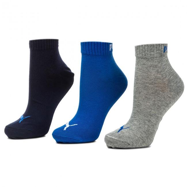 Súprava 3 párov kotníkových ponožiek unisex PUMA - 271080001 Blue/Grey Melange 277