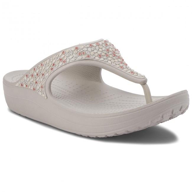 Žabky CROCS - Sloane Embellished Flip 204181 Pearl White