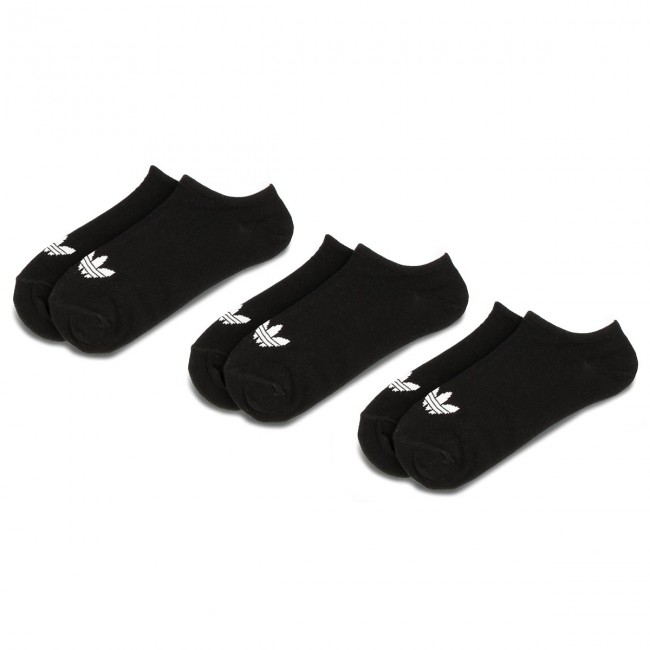 Súprava 3 párov kotníkových ponožiek unisex adidas - Trefoil Liner S20274  Black/Black/White