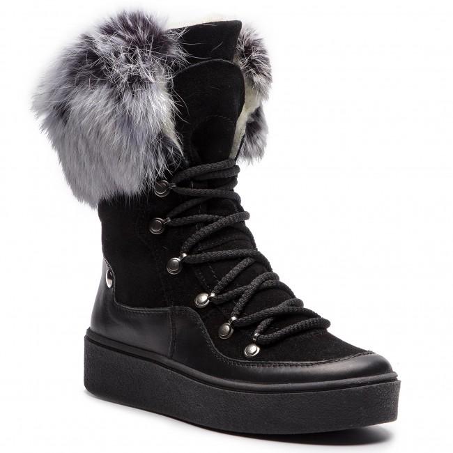 Členková obuv POLLONUS - 5-0464-004 Czarn Lico/Velur/Królik