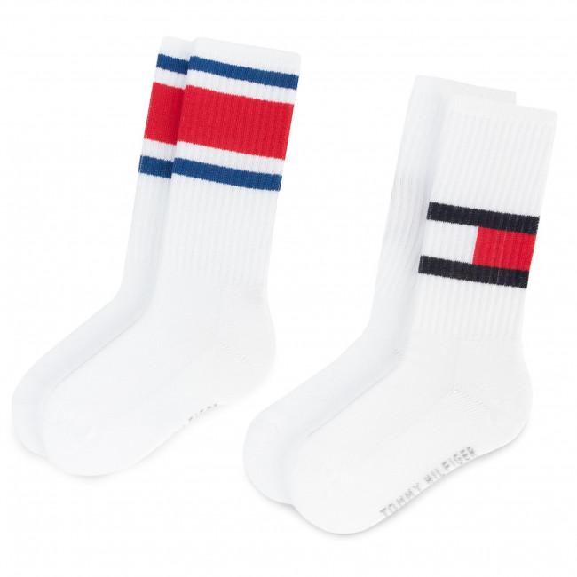 Súprava 2 párov vysokých ponožiek unisex TOMMY HILFIGER - 394020001 White 300