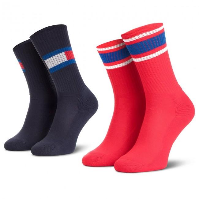 Súprava 2 párov vysokých ponožiek unisex TOMMY HILFIGER - 394020001 Midnight Blue 563