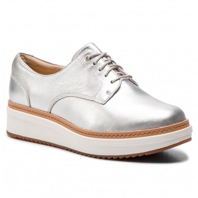 Oxfordy CLARKS - Teadale Rhea 261421614 Silver Metallic