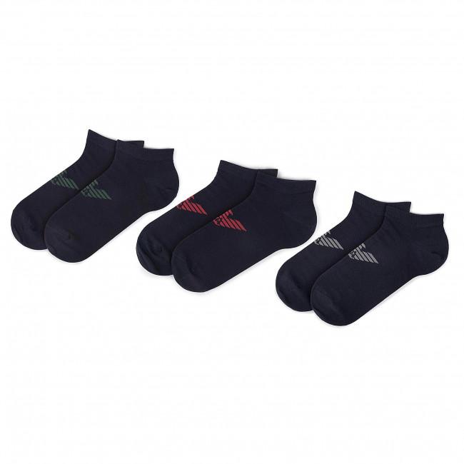 Súprava 3 párov kotníkových ponožiek pánských EMPORIO ARMANI - 300008 9A234 56335 Blu/Blu/Blu