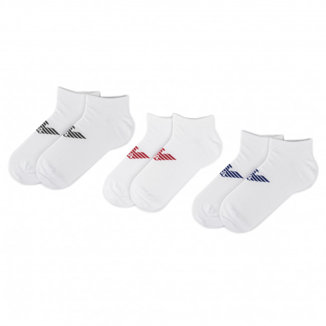 Súprava 3 párov kotníkových ponožiek pánských EMPORIO ARMANI - 300008 9A234 60210 Bianco/Biano/Bianco