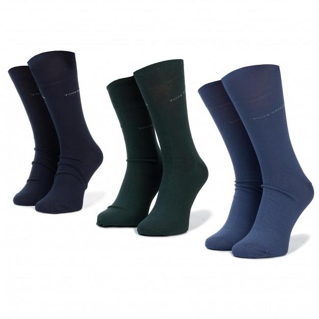 Súprava 3 párov vysokých ponožiek unisex TOM TAILOR - 9003A Dark Green 758