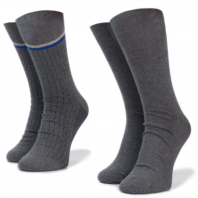 Súprava 2 párov vysokých ponožiek unisex TOM TAILOR - 90143 Grey Melange 153