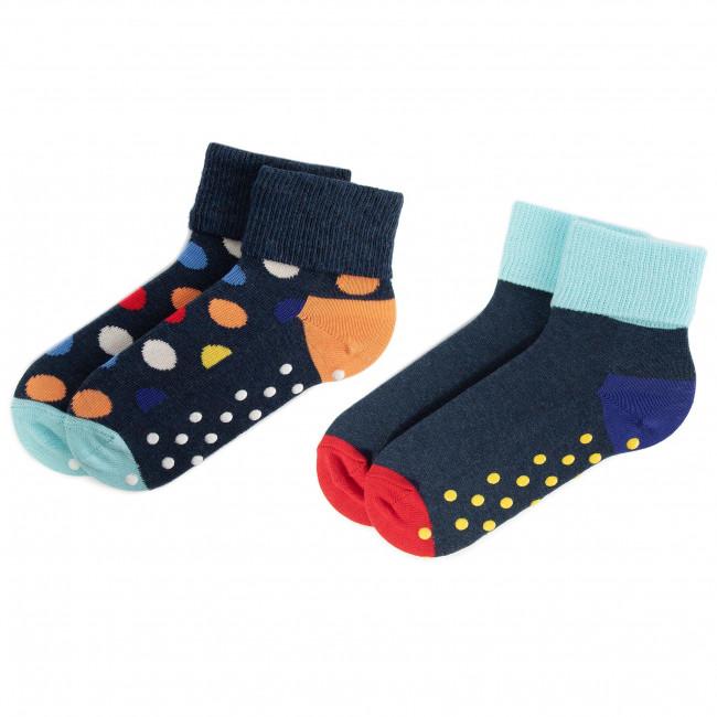 Súprava 2 párov vysokých ponožiek detských HAPPY SOCKS - KBDO19-6500 Farebná Tmavo modrá