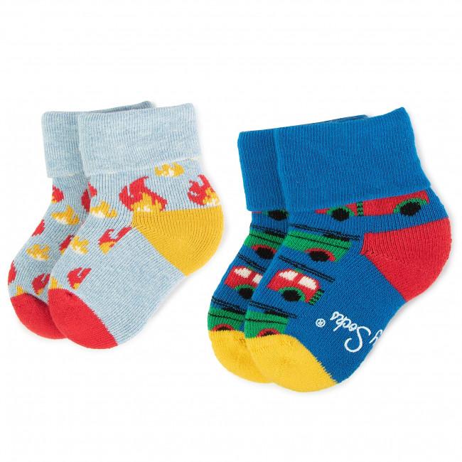 Súprava 2 párov vysokých ponožiek detských HAPPY SOCKS - KFLM45-6000 Farebná Modrá Tmavo modrá