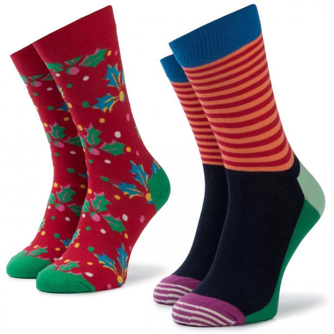 Súprava 2 párov vysokých ponožiek unisex HAPPY SOCKS - XHOL02-4300 Farebná