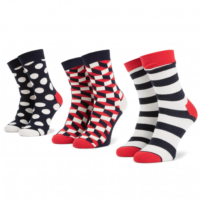 Súprava 3 párov vysokých ponožiek unisex HAPPY SOCKS - XSTR08-6000 Tmavo modrá