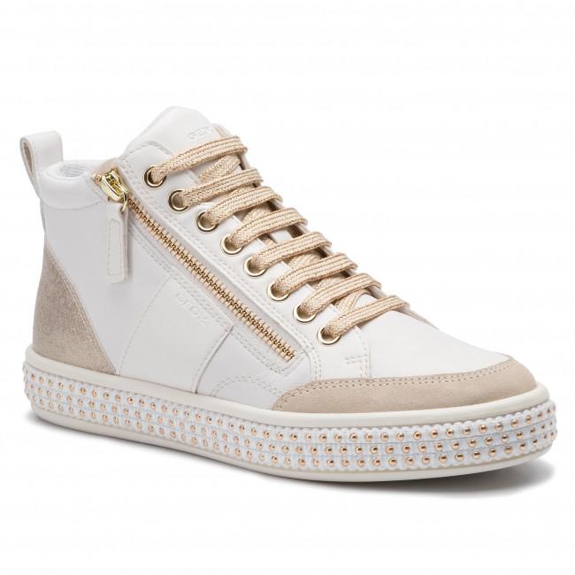 Sneakersy GEOX - D Leelu' G D94FFG 08554 C1ZB5 White/Champagne