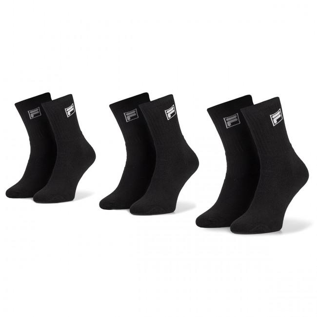 Súprava 3 párov vysokých ponožiek unisex FILA - Calza Tennis Socks F9000 Black