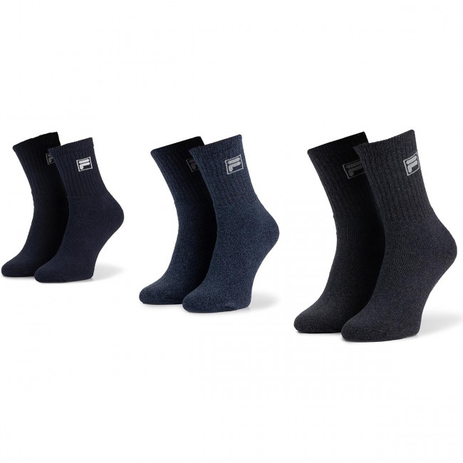 Súprava 3 párov vysokých ponožiek unisex FILA - Calza Tennis F9000 Navy Mouline 321