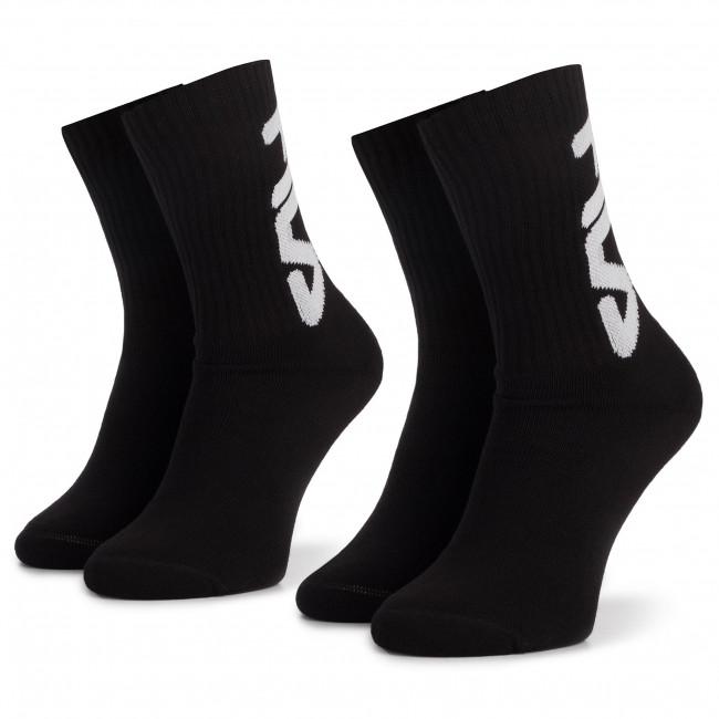 Súprava 2 párov vysokých ponožiek unisex FILA - Calza F9598 Black 200